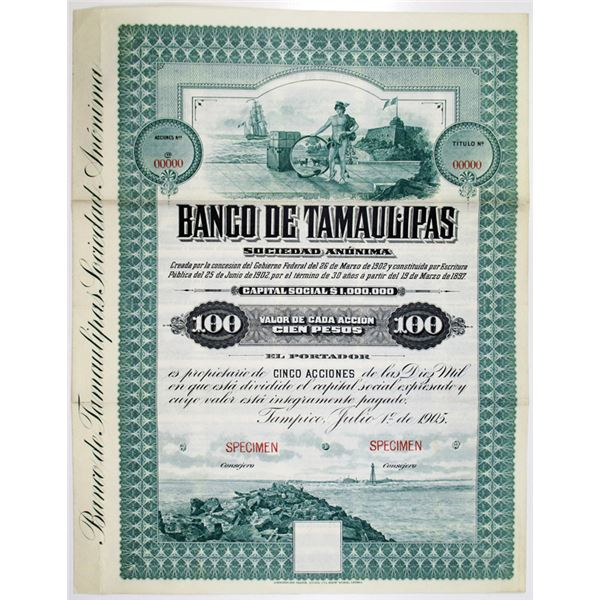 Banco de Tamaulipas, 1905 Specimen Stock Certificate