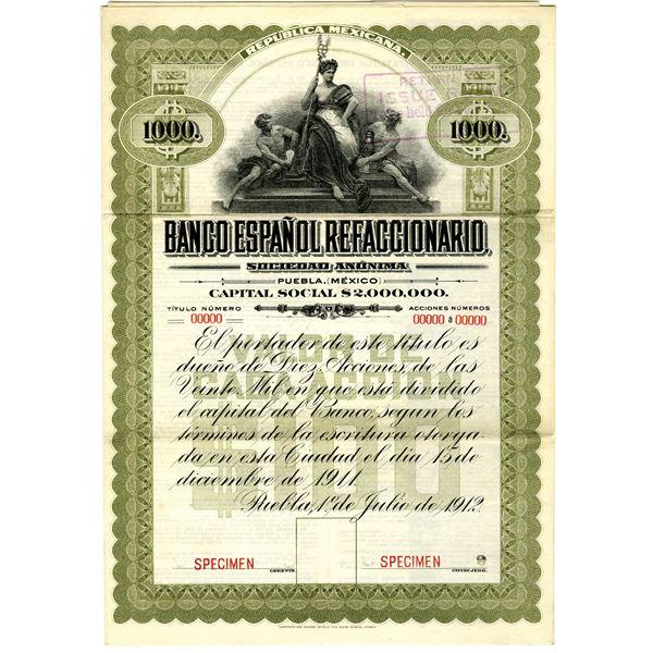 Banco Espanol Refaccionario, 1912 Specimen Stock Certificate with Coupons