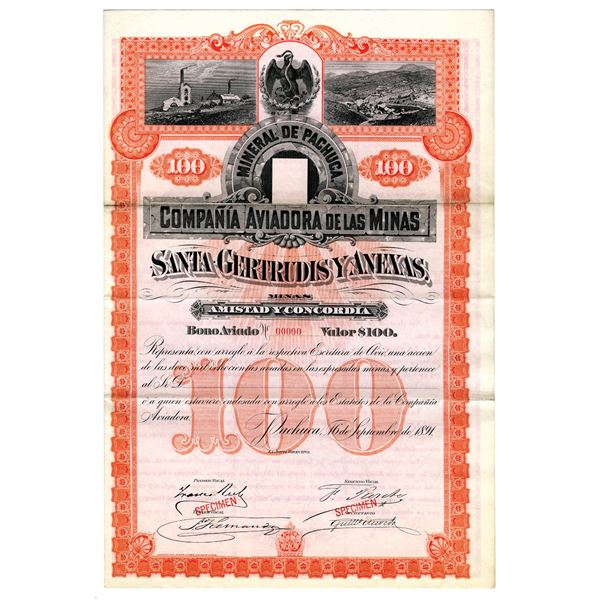 Compania Aviaora de Las Minas, 1891 Specimen Bond