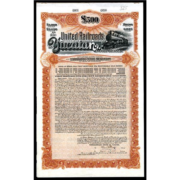 Ferrocarriles Unidos De Yucatan - United Railroads of Yucatan, Inc., 1910 Specimen Bond.