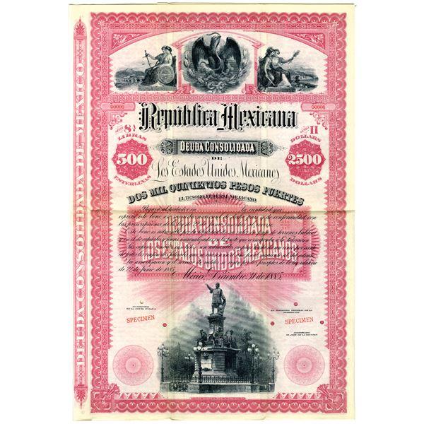 Republica Mexicana 1885 Specimen Bond Rarity