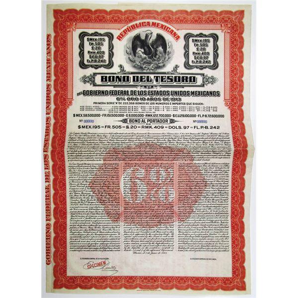Republica Mexicana, 1913 Specimen Bond