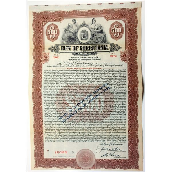 """City of Christiania with Overprint """"Name Changed to Oslo"""", 1924 Specimen Bond"""