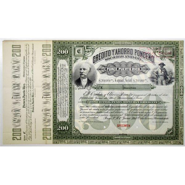 Credito y Ahorro Ponceno 1893 Specimen Stock Bond