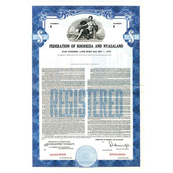 Federation of Rhodesia and Nyasaland 1958 Specimen Bond