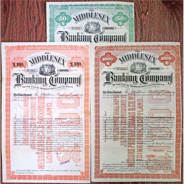 Middlesex Banking Co., ca.1890-1900 Specimen Bond Trio