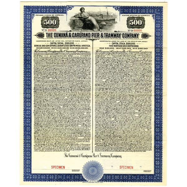Cumana & Carupano Pier & Tramway Co. 1916 Specimen Bond