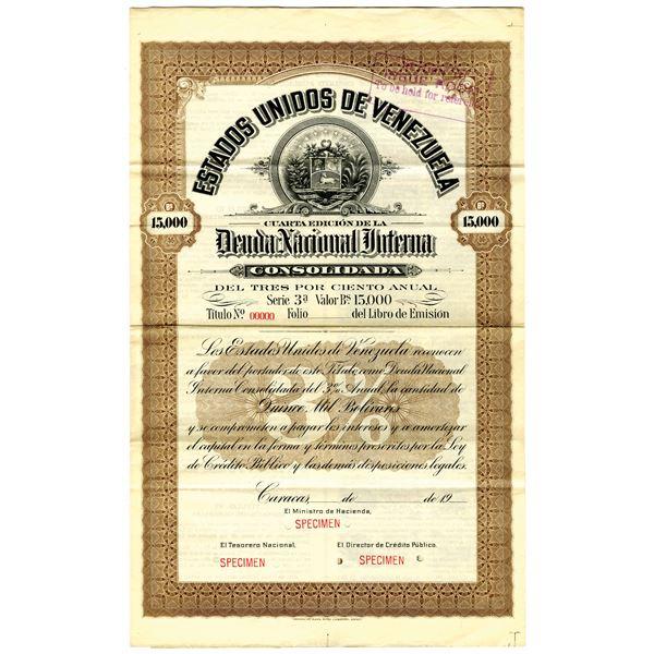 Estados Unidos de Venezuela 1920 Specimen Bond