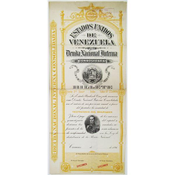 Estados Unidos de Venezuela, 1896 Specimen Bond