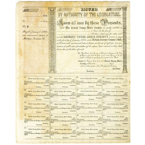 Detroit Young Men's Society. 1849 U/U Bond Certificate.