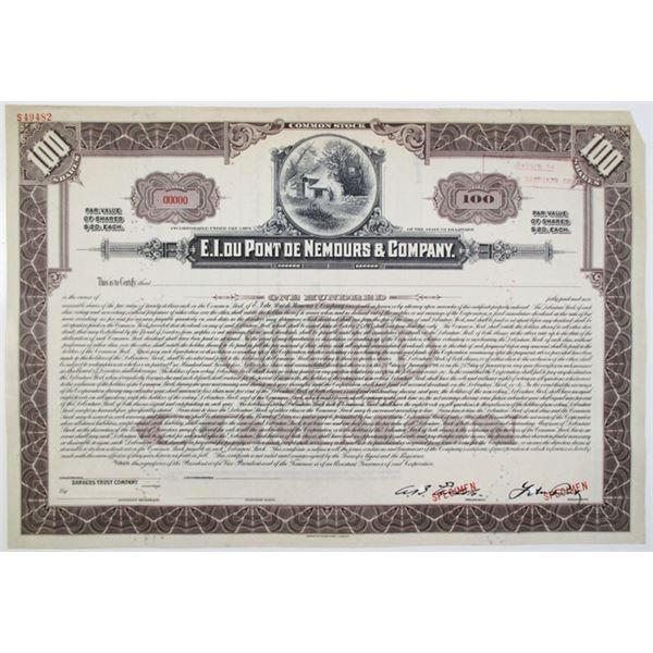 E.I. du Pont de Nemours & Co., 1915 Specimen Stock Certificate