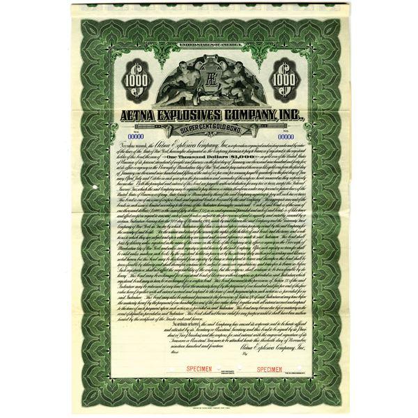 Aetna Explosives Co., Inc. 1914 Specimen Bond