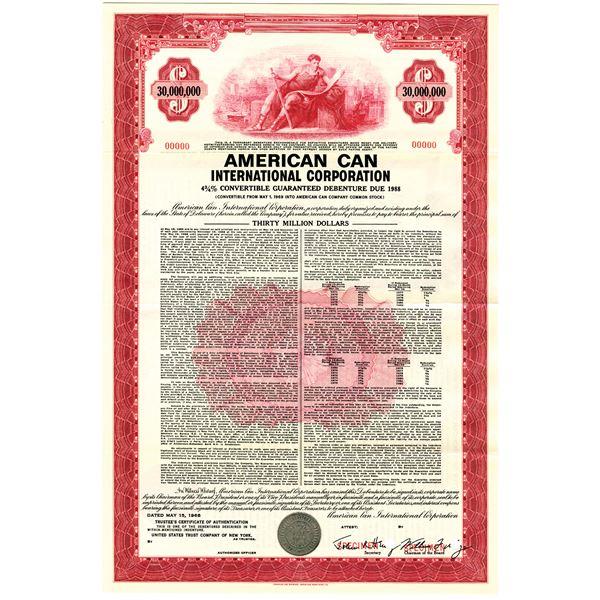 American Can International Corp. 1968, $30 Million Dollar Specimen Bond
