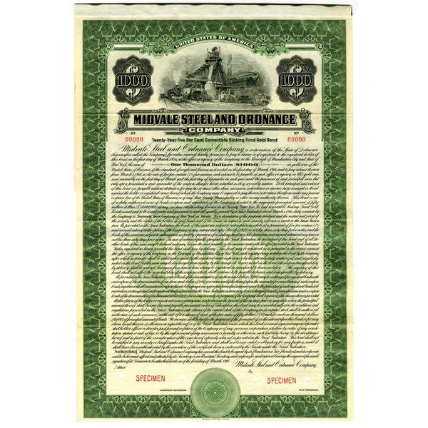 Midvale Steel and Ordnance Co. 1916 Specimen Bond