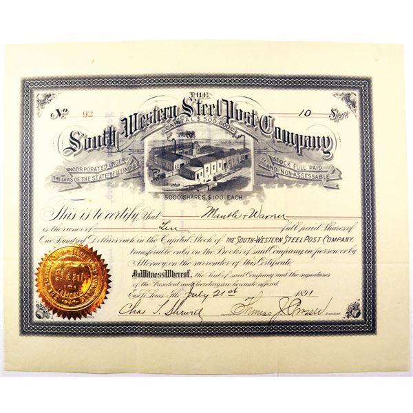 South-Western Steel Post Co., 1891 I/U Stock Certificate.