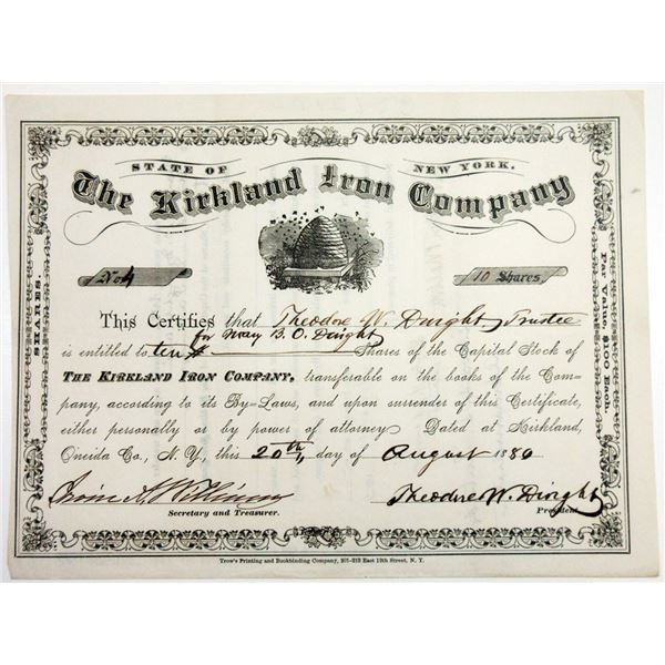 Kirkland Iron Co., 1880 10 Shrs I/U Stock Certificate XF,  Trow's Printing