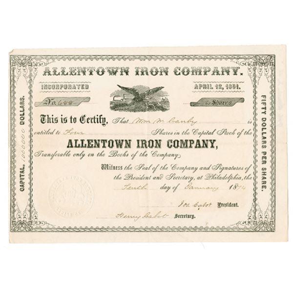 Allentown Iron Co., 1874 I/U Stock Certificate