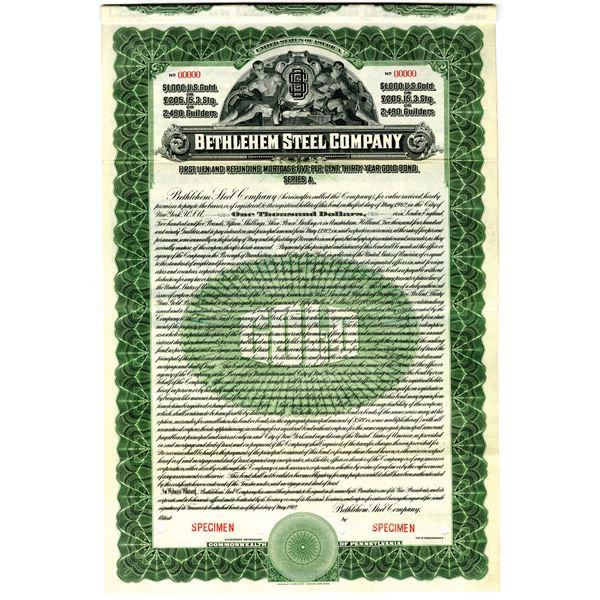 Bethlehem Steel Corp. 1912 Specimen Bond Payable in U.S. Gold - Pounds Sterling and Dutch Guilders.