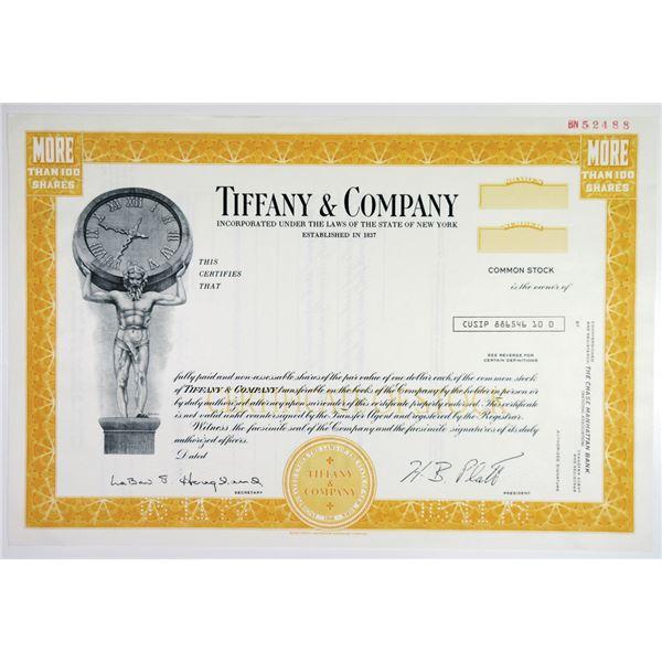 Tiffany & Co. 1978 Specimen Stock Certificate.