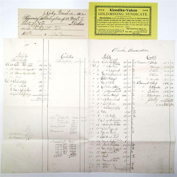 Alaska Gold Mining Ephemera Trio, ca. 1890-1920s Including Stock Certificate & Grub Stake List