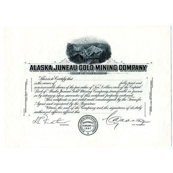Alaska Juneau Gold Mining Co., ca.1920-30's Progress Proof Stock Certificate