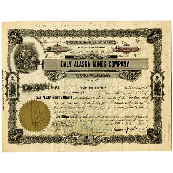 Daly Alaska Mines Co. 1923 I/U Stock Certificate
