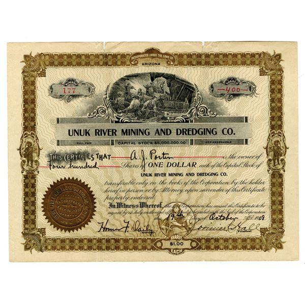 Unuk River Mining and Dredging Co. 1908 I/U Stock Certificate.