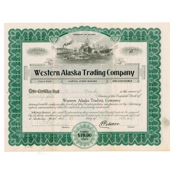 Western Alaska Trading Co., 1927 I/U Stock Certificate