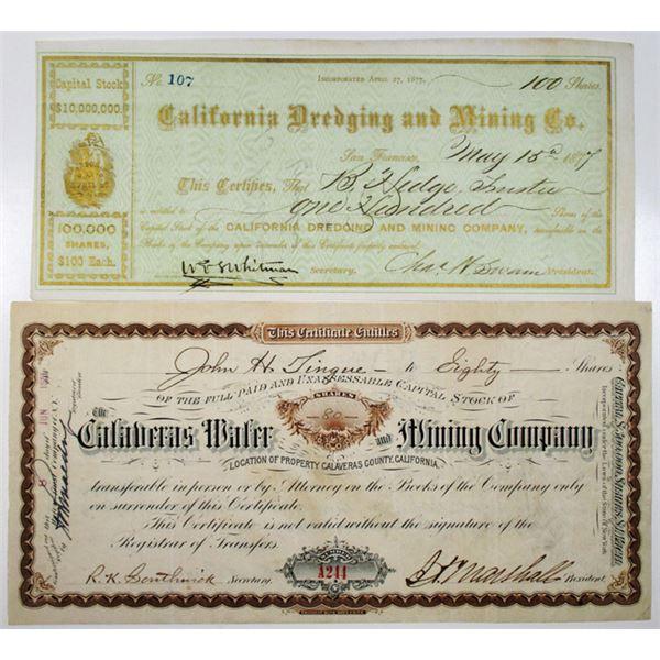 California Mining Stock Certificate Pair, ca. 1870-1880s