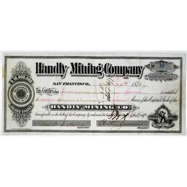 Handly Mining Co. 1878 I/U Stock Certificate, Bodie Mining District.