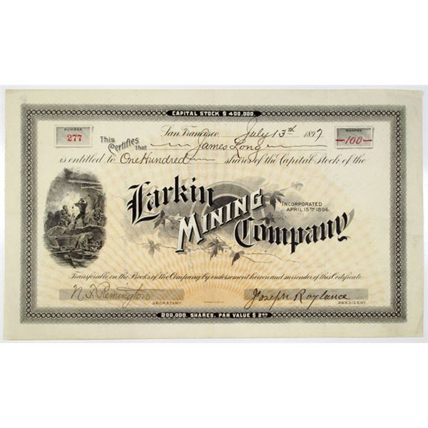 Larkin Mining Co. 1897 I/U Stock Certificate