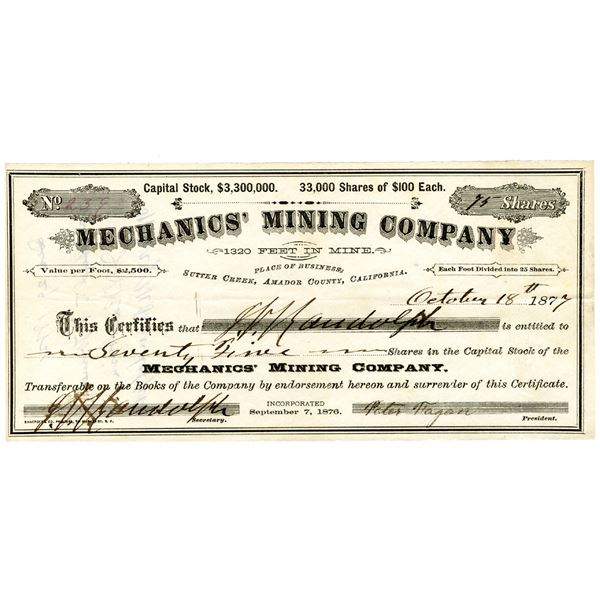 "Mechanics' Mining Co., 1877 ""Sutter Creek"" I/U Stock Certificate."