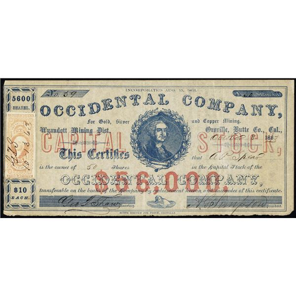 Occidental Company for Gold, Silver and Copper Mining, 1863 I/U Stock Certificate.