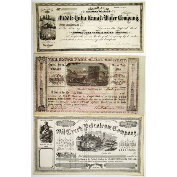 Petroleum and Canal Company, ca.1852 to 1865 Stock Certificates