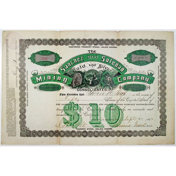 Sanchez and Soledad Gold and Silver Mining Co. Consolidated, 1883 I/U Stock Certificate