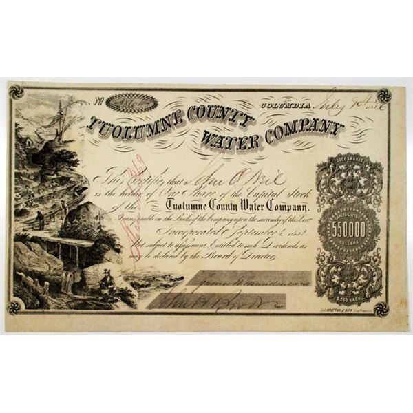 Tuolumne County Water Co. 1856 I/U Stock Certificate