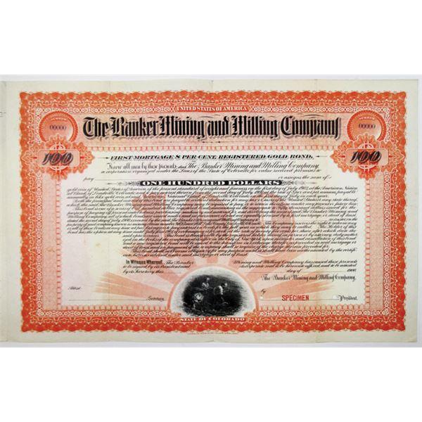 Banker Mining and Milling Co. 1900 Specimen Bond