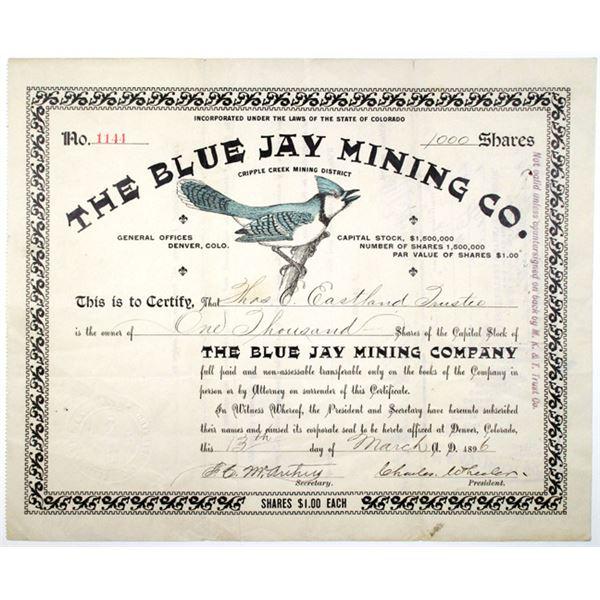 Blue Jay Mining Co. 1896 I/U Stock Certificate