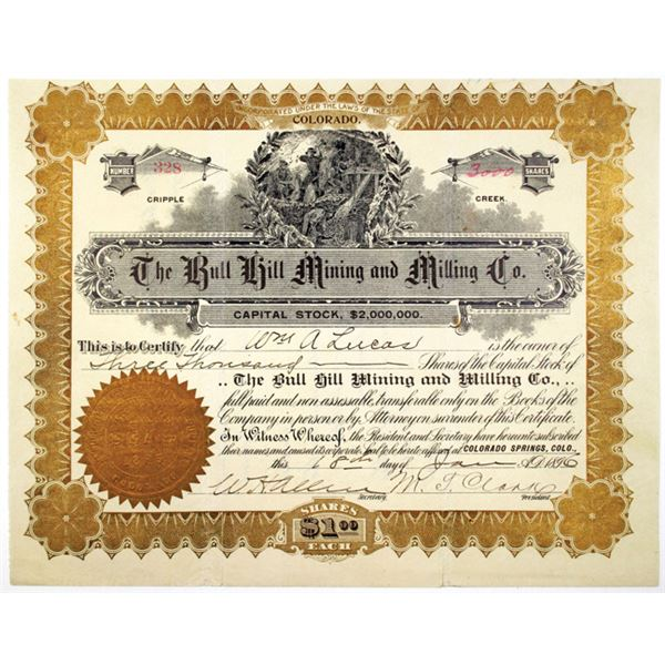 Bull Hill Mining and Milling Co. 1896 I/U Stock Certificate