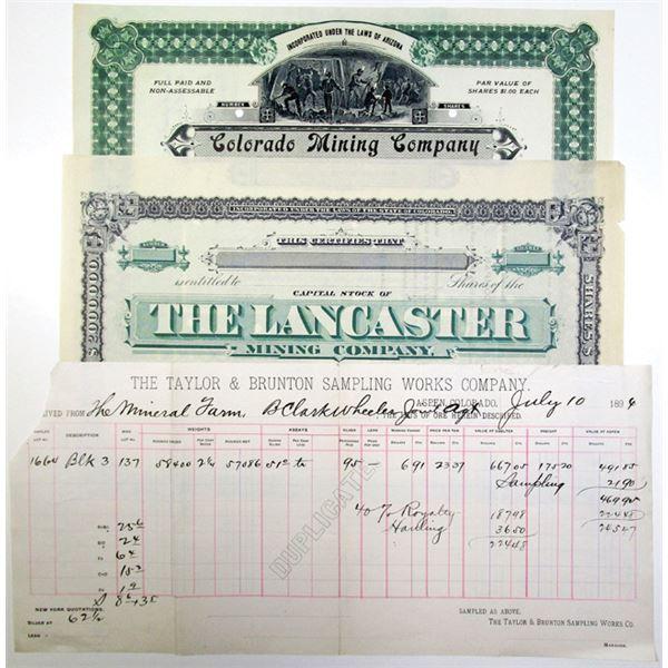 Aspen, Colorado Ore Assay Certificate and 2 Specimen Colorado Stock Certificates, ca.1880-1908