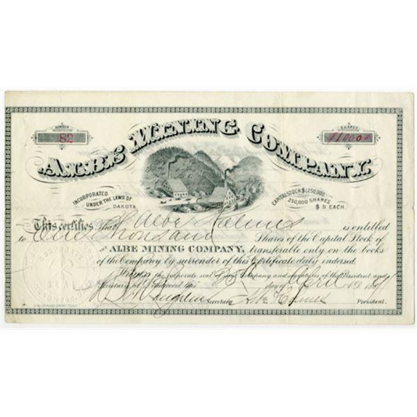 Albe Mining Co. 1891 I/U Stock Certificate