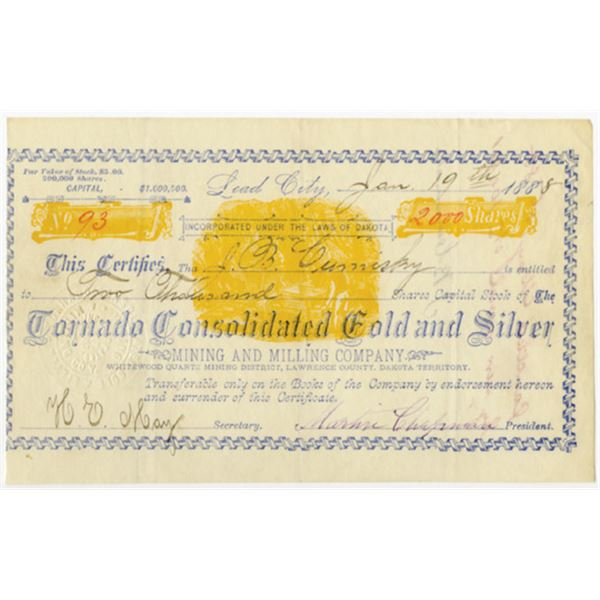 Tornado Consolidated Gold & Silver Mining & Milling Co. 1888 I/C Stock Certificate