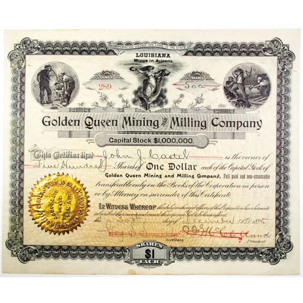 Golden Queen Mining and Milling Co. 1895 I/U Stock Certificate