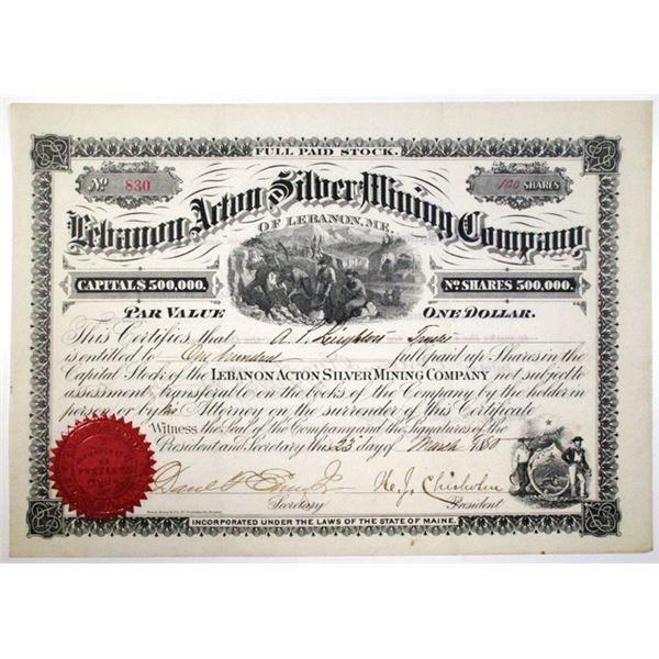 Lebanon Acton Silver Mining Co. 1880 I/U Stock Certificate