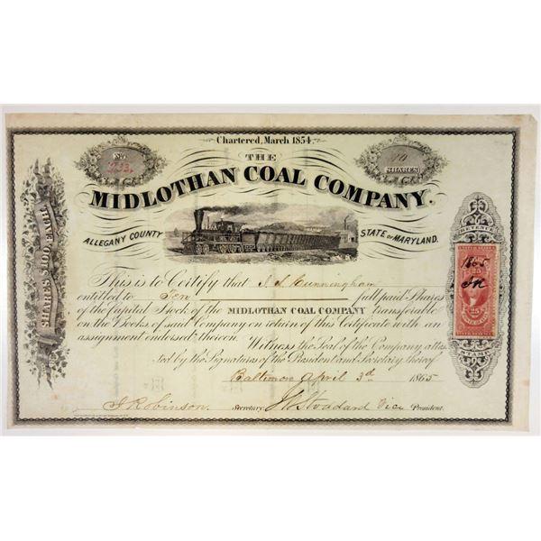 Midlothan Coal Co., 1865 I/U Stock Certificate