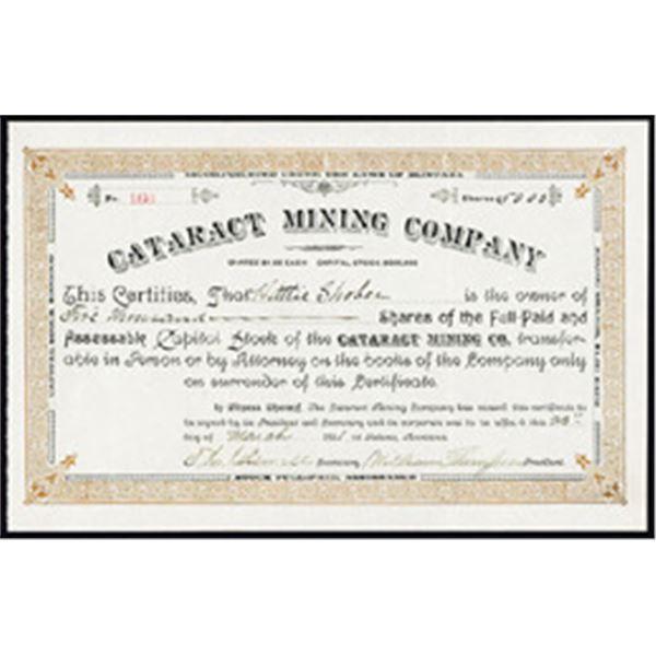 Cataract Mining Co. 1891 I/U Stock Certificate