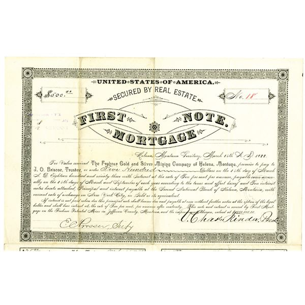 Frohner Gold and Silver Mining Co. of Helena, Montana 1888 I/U Bond