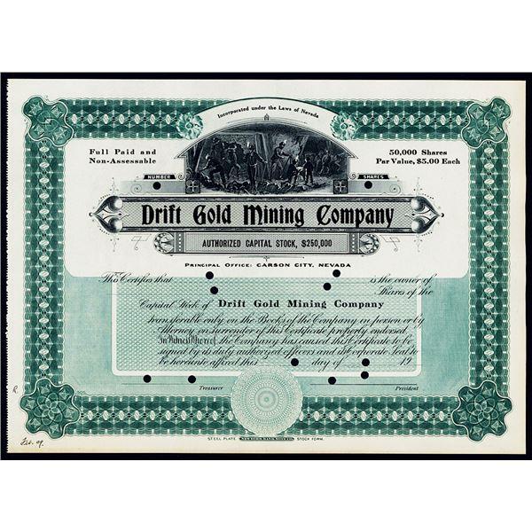 Drift Gold Mining Co., 1909 Specimen Stock Certificate