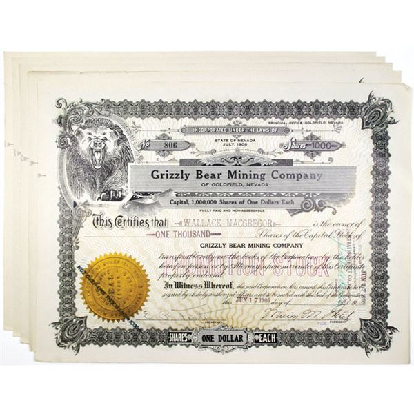 Grizzly Bear Mining Co. I/U Stock Certificate Quintet, 1909