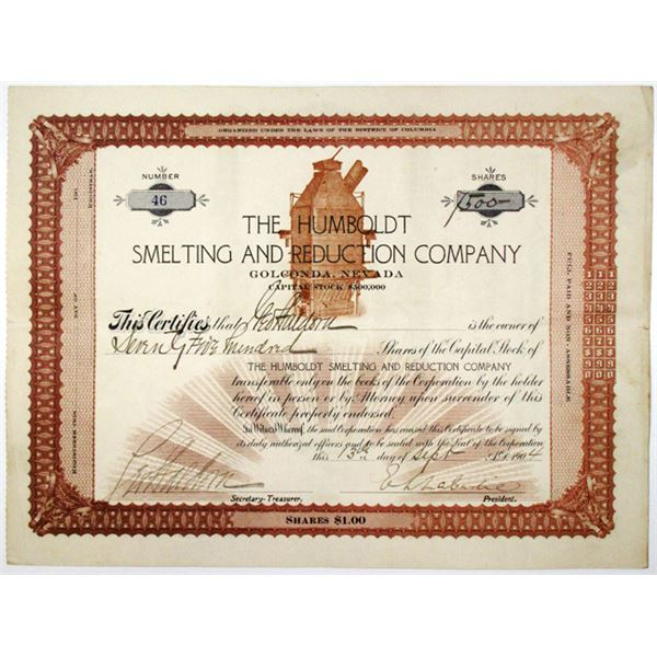 Humboldt Smelting and Reduction Co. 1904 I/U Stock Certificate